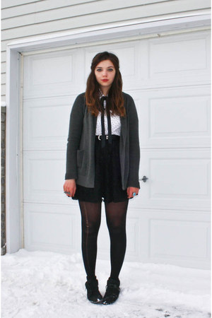 gray thrifted cardigan - black Suzy Shier skirt - black ribbon Walmart tie