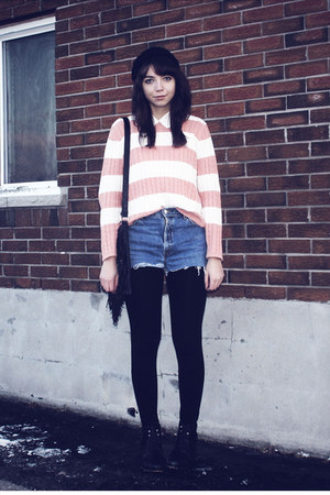 pink thrifted sweater - blue thrifted shorts