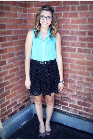 black Fairweather skirt - aquamarine Stitches shirt