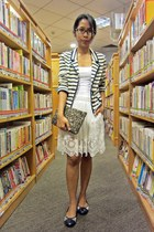 army green Zara bag - navy stripes Mango blazer - ivory lace skirt Zara skirt