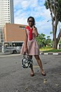Navy-prints-bag-kate-spade-bag-light-pink-flared-dress-zara-dress