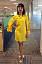 yellow Zara dress - white tory burch heels - blue Zara necklace