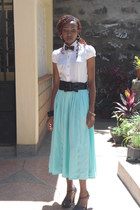 aqua maxi skirt - black strapy heels - white cotton blouse