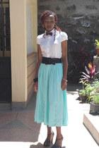 aqua maxi skirt - black strapy heels - white cotton blouse