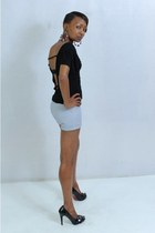 black heels - sky blue shorts - black cut-out top - red large loop earrings