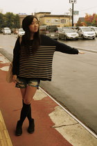 denim shorts Wego shorts - black suede Office boots - H&M sweater