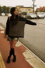 Black-suede-office-boots-h-m-sweater-denim-shorts-wego-shorts