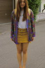 French-connection-shirt-vintage-cardigan-mustard-wego-skirt