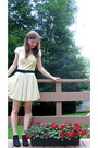 Black-unionbay-boots-yellow-francescas-dress-black-vintage-belt