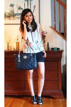 Kenneth Cole top - quilted leather DKNY bag - cotton blend Mossimo shorts