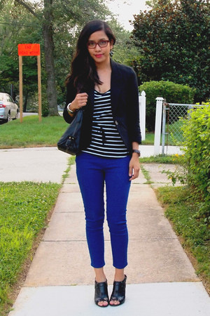 blue crop jeggings Dream Out Loud jeans - black peplum Nordstrom blazer