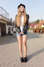 Six-hat-no-name-jacket-levis-shorts-stradivarius-t-shirt-new-look-wedges