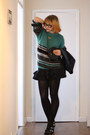 Black-aldo-shoes-teal-dagmar-sweater-black-miss-selfridge-skirt