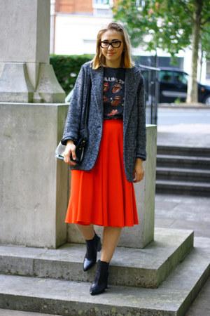 red asos skirt - black asos boots - dark gray Mango coat