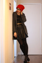 red or dead boots - Urban Code dress - Mango coat - asos hat - Primark belt