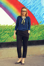 Teal-jaeger-blouse-dark-gray-hobbs-pants