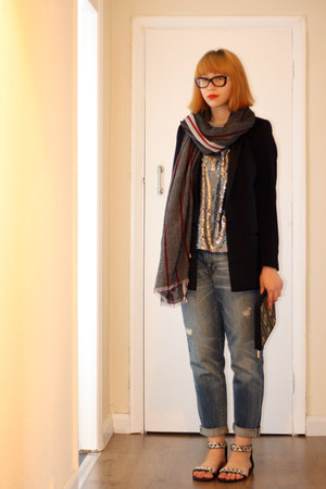 black Zara jacket - Gap jeans - red Zara scarf - black new look purse