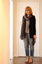 black Zara jacket - Gap jeans - red Zara scarf - black new look purse