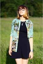 turquoise blue romwe shirt - black asos shoes - black Topshop dress