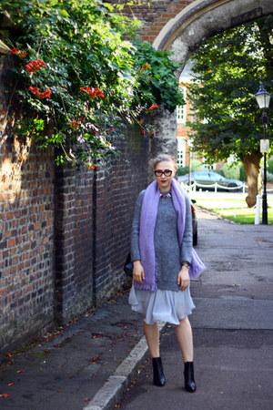 light purple COS scarf - silver asos dress