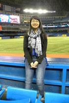 blue Zara jeans - black Forever 21 jacket - sky blue Pashmina scarf
