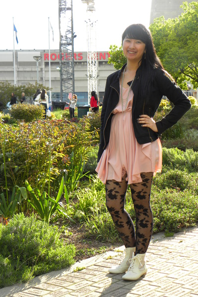 black Forever 21 jacket - ivory Spring boots - light pink dress