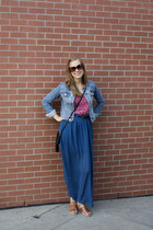 blue blue maxi skirt skirt - jean H&M jacket - red tank red floral top