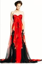 red Alexander McQueen dress - black Alexander McQueen shoes