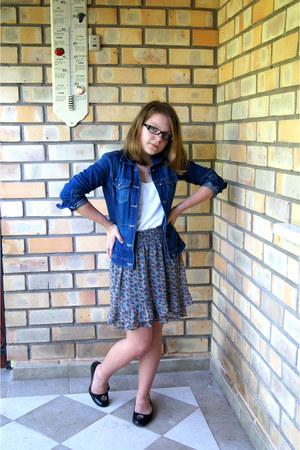 blue Mango jacket - white next shirt - teal Zara skirt - black byblos flats