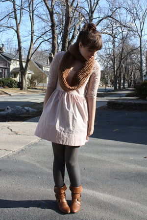 pink Topshop dress - gray H&M tights - brown scarf - brown Charlotte Russe boots
