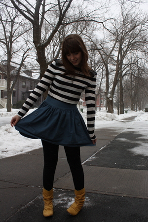black Forever 21 top - blue Walmart skirt - gold Spring boots - silver gift neck