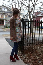 white vintage dress - red Jeffrey Campbell shoes - blue Smart Set tights - brown