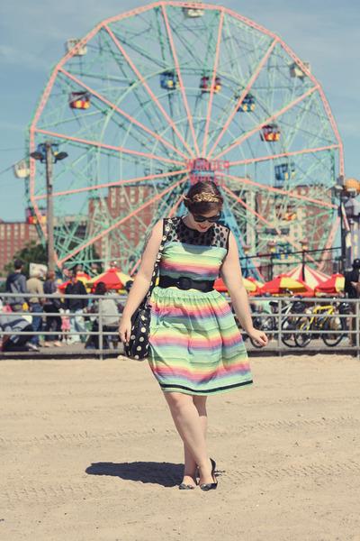 green rainbow striped modcloth dress - black polka dot Marc by Marc Jacobs bag