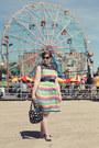 Green-rainbow-striped-modcloth-dress-black-polka-dot-marc-by-marc-jacobs-bag