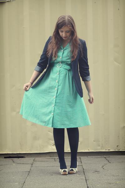 turquoise blue vintage dress - navy vintage blazer - white floral Walmart heels