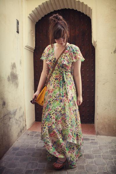 chartreuse rainbow Monsoon dress - gold H&M bag - periwinkle Primark sandals