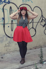 Dark-brown-ankle-new-look-boots-red-bdg-skirt-dark-gray-modcloth-top