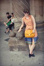 orange button down Mango dress - gold satchel H&M bag - brown unknown sunglasses