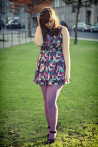 skater new look dress - American Apparel tights - mary jane miz mooz wedges