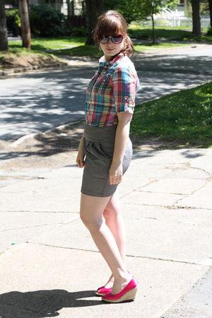 blue American Eagle shirt - gray Costa Blanca skirt - pink H&M shoes