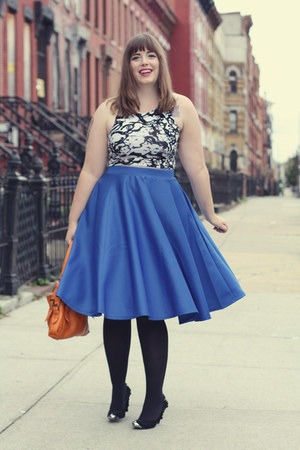 blue midi asos skirt - orange unknown bag - black Jeffrey Campbell heels