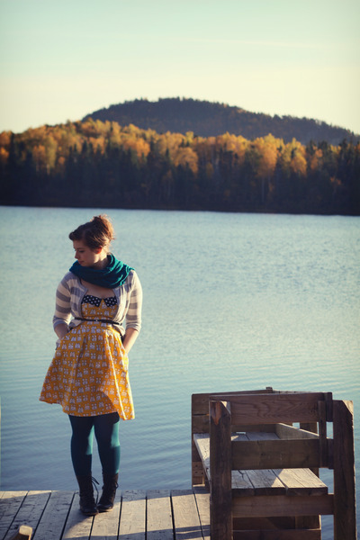 teal HUE tights - dark brown Aldo boots - yellow toast print modcloth dress