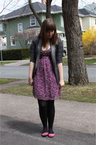 pink Smart Set dress - gray blazer - black Ardene tights - pink shoes