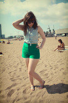 green high-waisted American Apparel shorts - dark brown unknown sunglasses