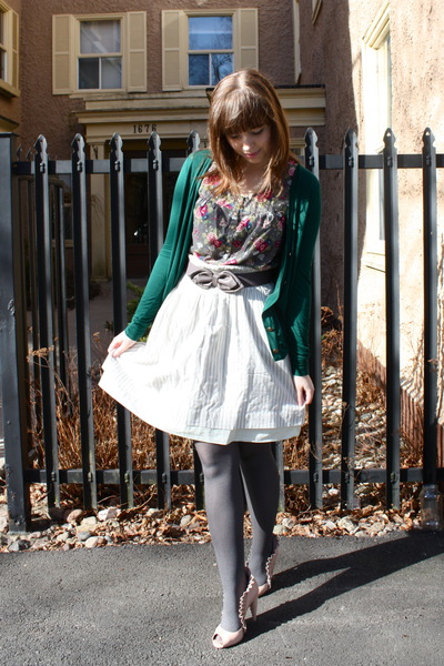 green Urban Outfitters cardigan - pink Jeffrey Campbell shoes - white Gap skirt