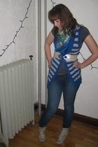 blue Walmart vest - gray Dynamite top - blue modcloth scarf