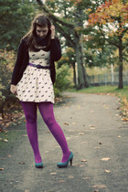 magenta We Love Colors tights - cream unicorn print Primark dress