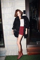 black Nanda jacket - black Nanda bag - brick red Nanda shorts