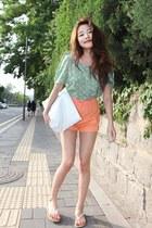 light orange shorts - aquamarine shirt - white bag