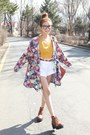 Yellow-shirt-white-shorts-light-purple-cardigan